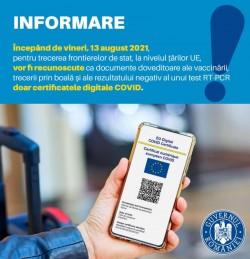 De vineri trecem frontiera cu certificatul digital COVID