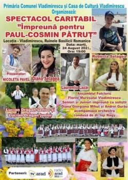 """Spectacol caritabil la """"Cetatea"""" din Vladimirescu în sprijinul adolescentului Paul Cosmin Pătruț, care suferă de o boală cruntă"""