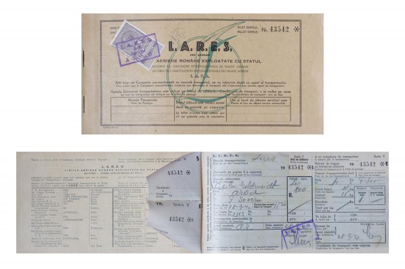 Un bilet de avion din anul 1940 pe ruta Arad- Turnu Severin este exponatul lunii septembrie la Complexul Muzeal Arad