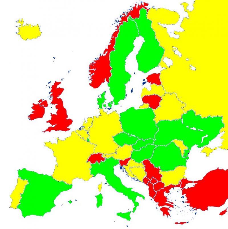 Noua listă a țărilor cu risc epidemiologic. Bulgaria și Franța intră în zona galbenă