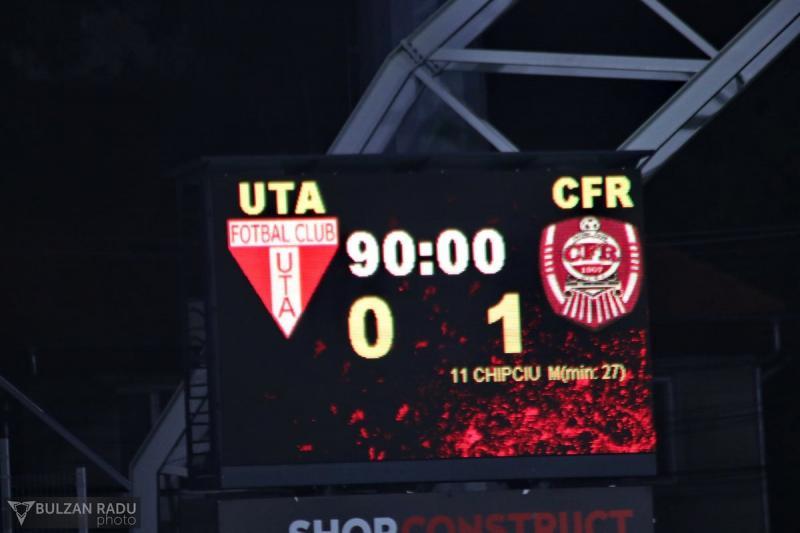 Înfrîngere nedreaptă în fața campioanei. UTA- CFR Cluj 0-1