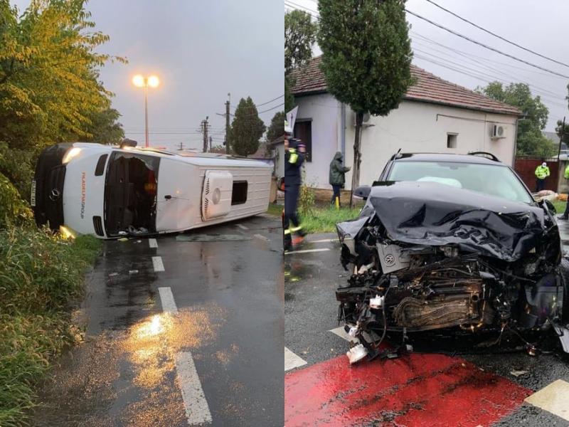Accident grav în municipiu între un microbuz și un autoturism. 7 victime transportate la spital. S-a activat planul ROȘU!